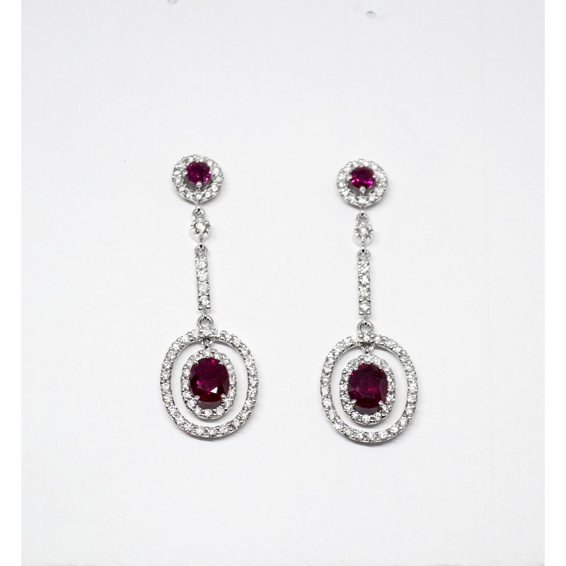 Collage Collection Ruby and Diamond Dangle Earrings