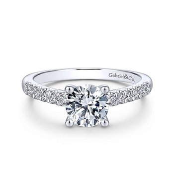 White Gold and Diamond Straight Shank Engagement Ring