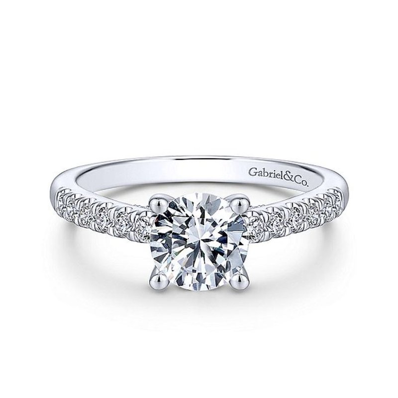 Gabriel White Gold and Diamond Straight Shank Engagement Ring