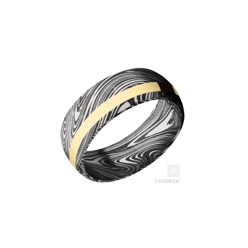 Lashbrook 14K Yellow Gold & Damascus Steel Men's Wedding Band