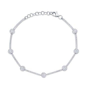 14K White Gold & Diamond Bracelet