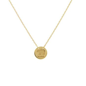 """18"""" 14K Yellow Gold Mama Bear Adjustable Stamped Disk Necklace"""