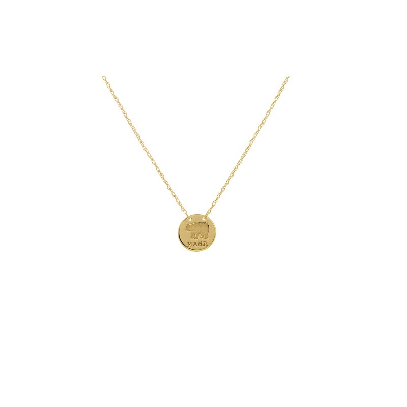 """Midas 18"""" 14K Yellow Gold Mama Bear Adjustable Stamped Disk Necklace"""