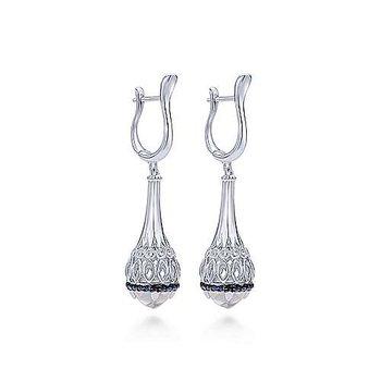 Sterling Silver Rock Crystal, Mother of Pearl, & Sapphire Teardrop Earrings