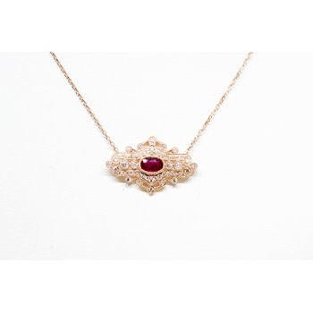 Rose Gold Ruby and Diamond Vintage Necklace