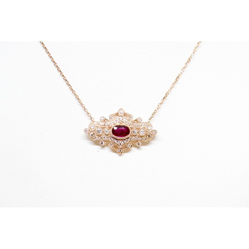Collage Collection Rose Gold Ruby and Diamond Vintage Necklace