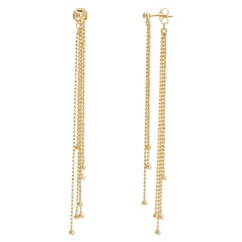 14K Yellow Gold Diamond Cut Bead Fringe Earrings