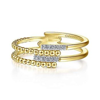Yellow Gold Beaded Interlocking Diamond Ring