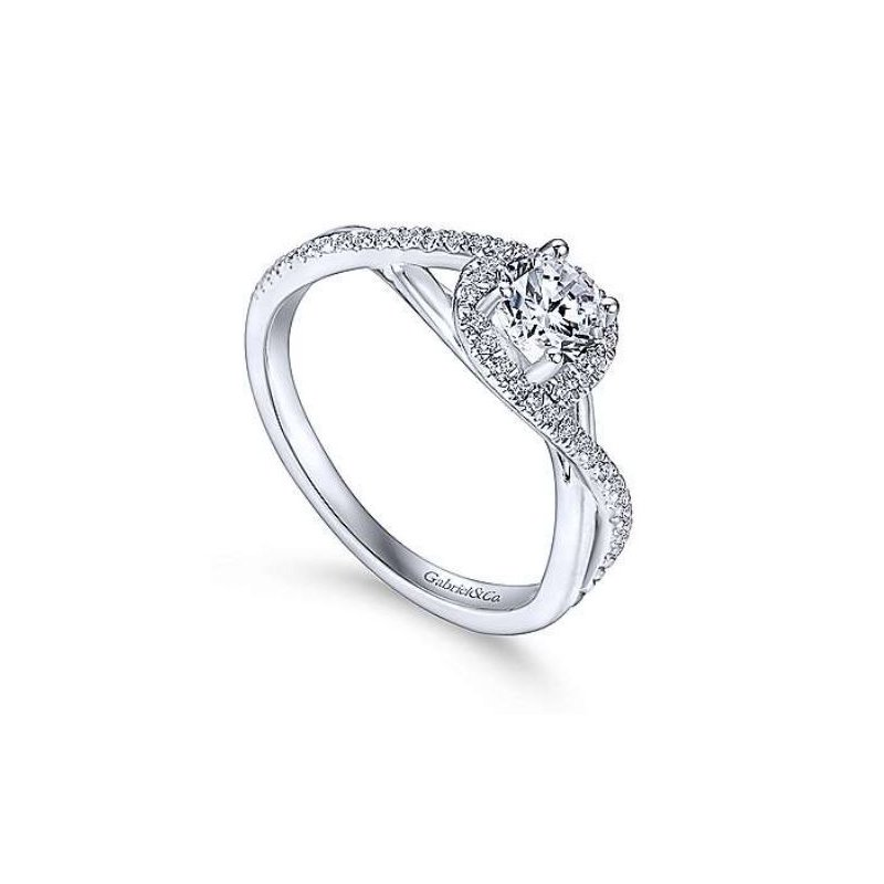 Gabriel 14K White Gold Round Diamond Engagement Ring