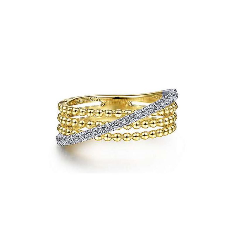Gabriel 14K Gold Three Row Beaded Ring with a Diagonal Row of Pave Diamonds.