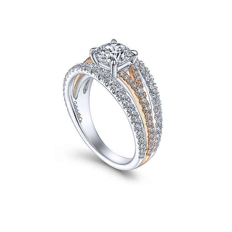 Gabriel Cecile 14K Two-Tone White and Rose Gold Engagement Ring
