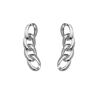 925 Sterling Silver Fancy Link Climber Earrings