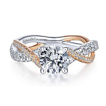 Sandrine 14K Two-Tone White and Rose Gold Twisted engagement Ring