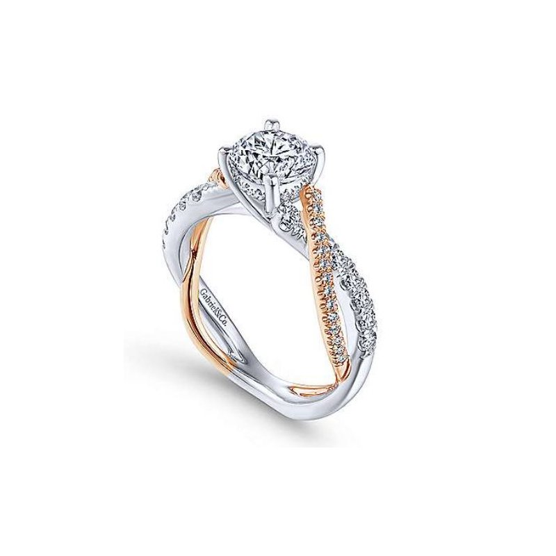 Gabriel Sandrine 14K Two-Tone White and Rose Gold Twisted engagement Ring