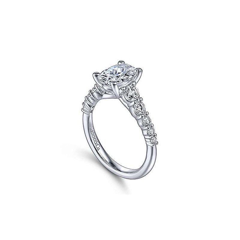 Gabriel 14K White Gold Reed Diamond Engagement Ring