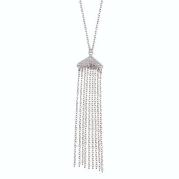 Sterling Silver Small Tassel Adjustable Necklace