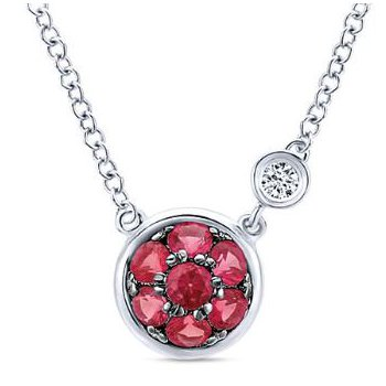Sterling Silver Ruby Cluster Necklace