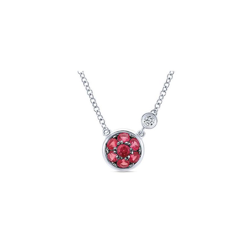 Gabriel Sterling Silver Ruby Cluster Necklace