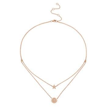 14K Rose Gold Diamond Pave Star & Sun Necklace
