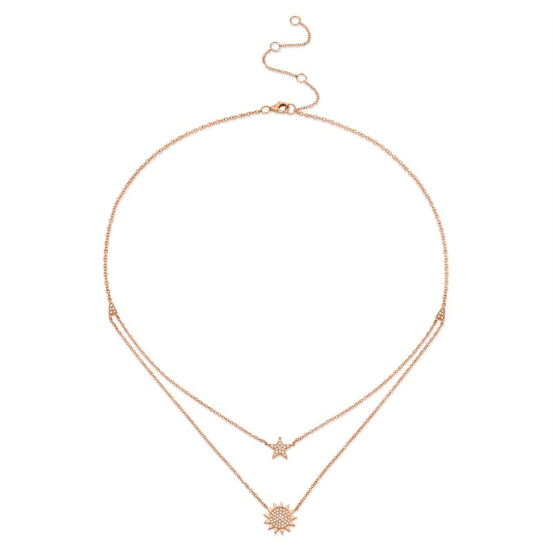 Shy 14K Rose Gold Diamond Pave Star & Sun Necklace