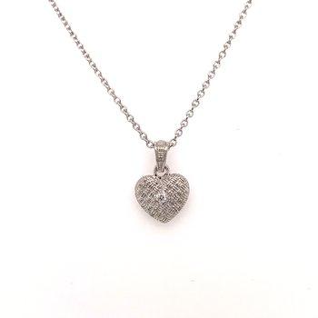 Woven SS Diamond Heart Pendant and Chain