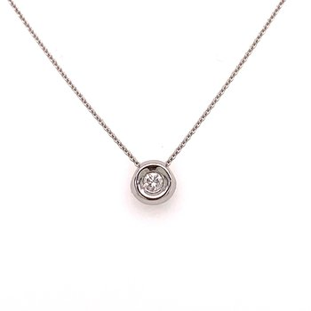 14K White Gold Diamond Bezel and Chain
