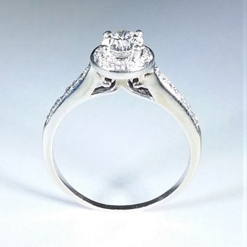 Halo Diamond Engagement Ring 1.00 ctw in white gold