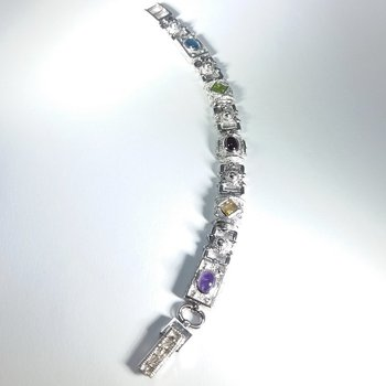White gold multi stone bracelet