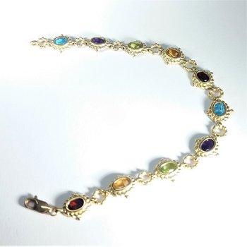 Yellow gold multi stone bracelet
