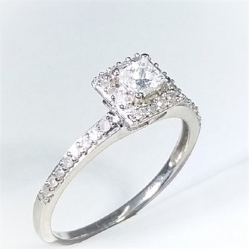Halo Diamond Engagement Ring 0.25 ctw in white gold