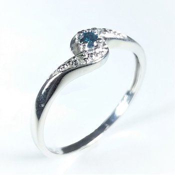 Blue Diamond Engagement Ring 0.05 ctw in white gold
