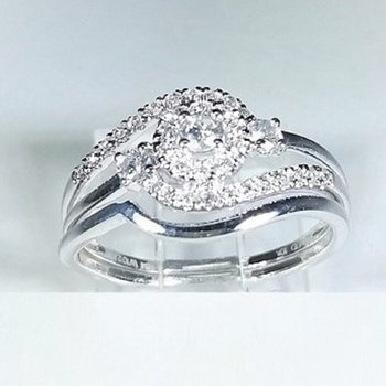 Halo Diamond Engagement set 0.45 ctw in white gold