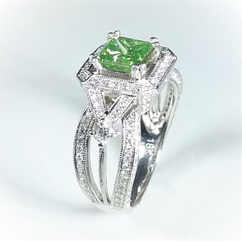 Green Diamond Engagement Ring 2.18 ctw in white gold