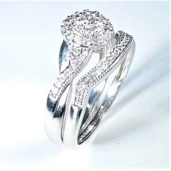 Halo Diamond Bridal Set  1.00 ctw in white gold