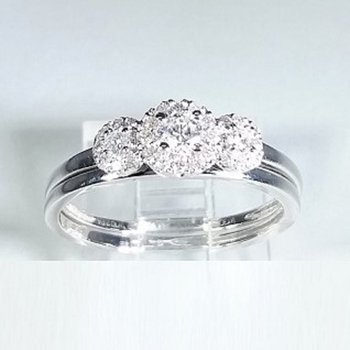 Halo Diamond Engagement set 0.33 ctw in white gold