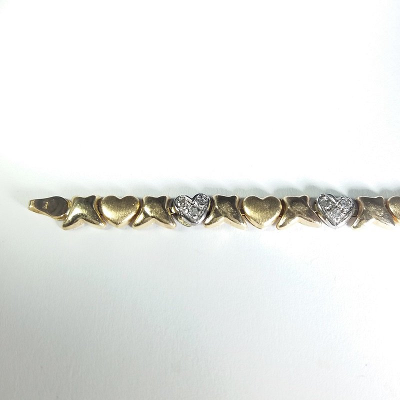 Clearance Hugs & Kisses Diamond Bracelet in Two-Tone gold