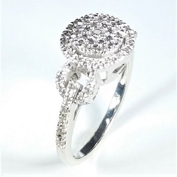 Halo Diamond Cluster Engagement Ring 1.00 ctw in white gold
