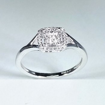 Halo Diamond Engagement Ring 0.10 ctw in white gold