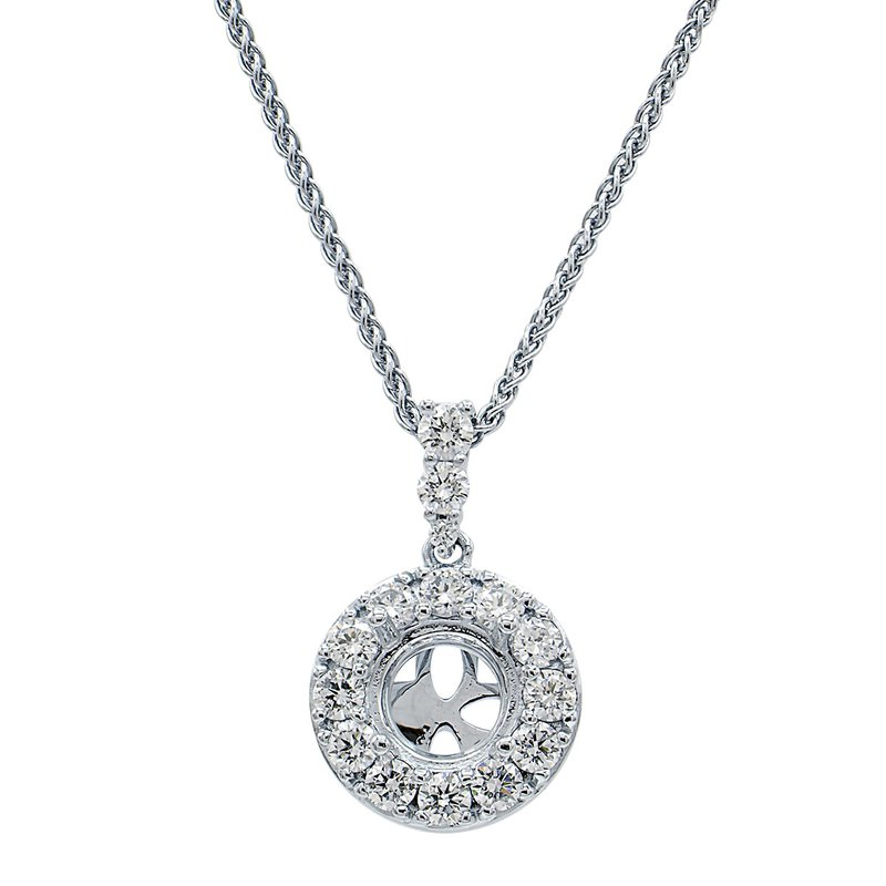 7 Mile Fine 18 Karat White Gold Diamond Semi-mount Pendant