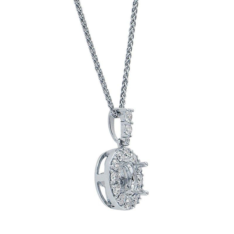 7 Mile Fine 18 Karat White Gold Diamond Semi-mount Pendant