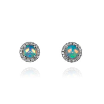 18 Karat Round Opal and Diamond Earrings