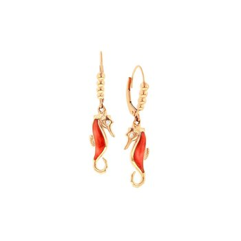 14 Karat Rose Seahorse Earrings