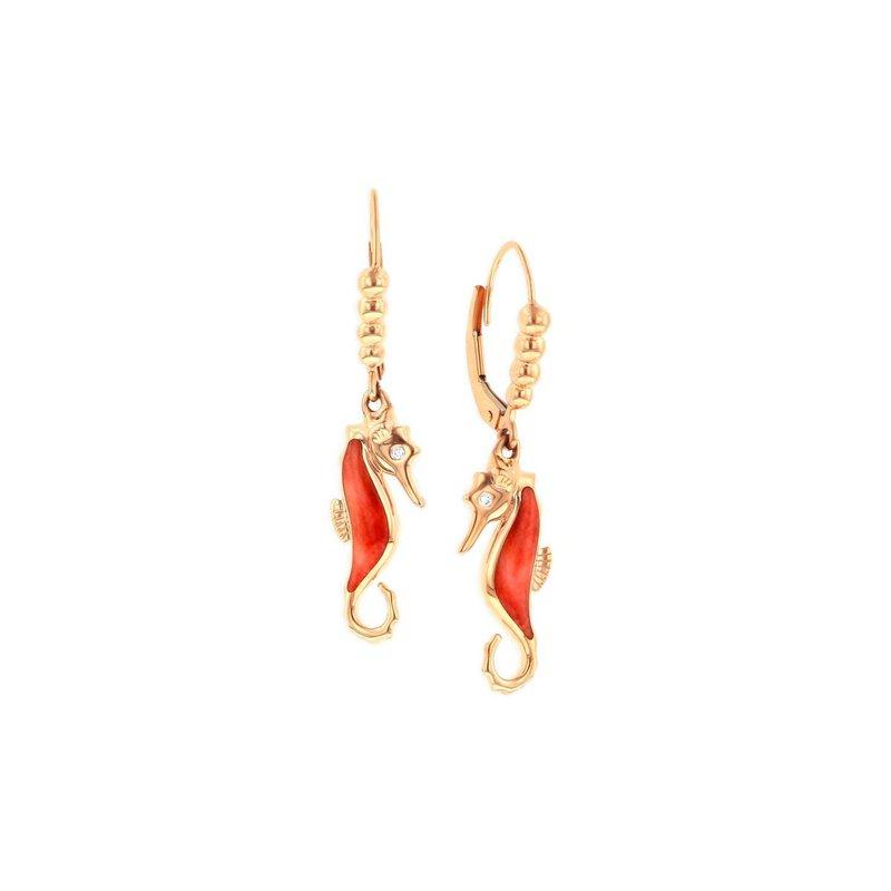 Studio Fine 14 Karat Rose Seahorse Earrings