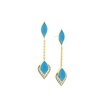 14 Karat Turquoise Dangle Earrings