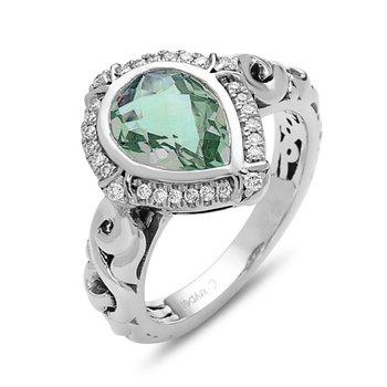 Green Amethyst Pear Ellah Ring