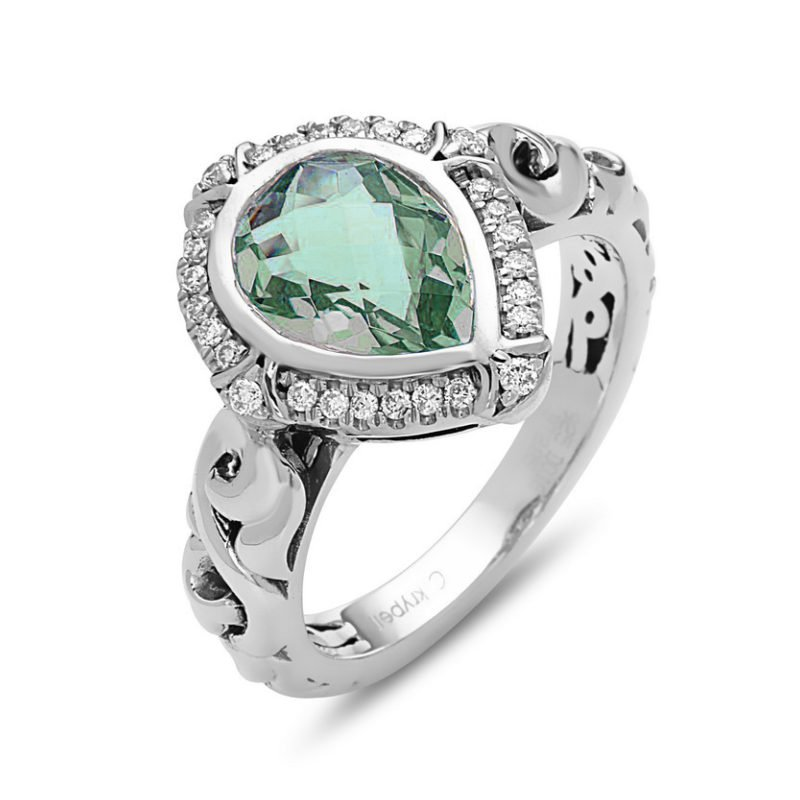 Studio Silver Green Amethyst Pear Ellah Ring