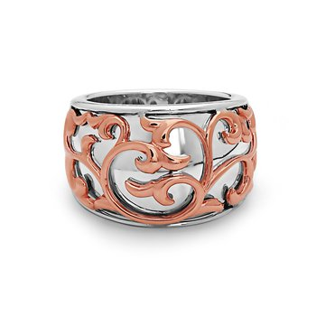 Rose Two-tone Ivy Lace Saddle Ring