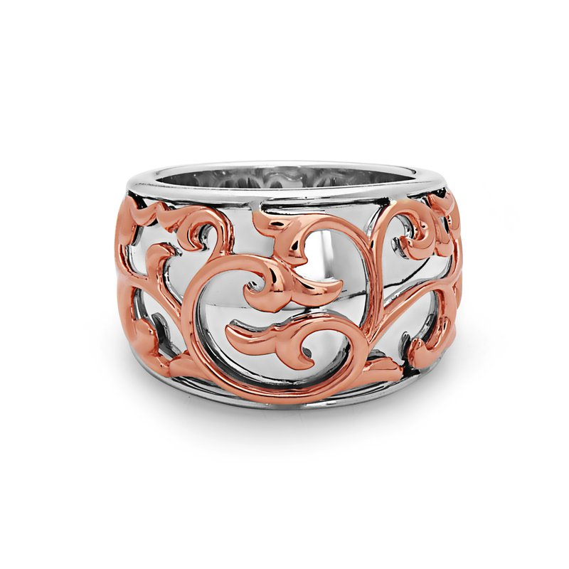 Studio Silver Rose Two-tone Ivy Lace Saddle Ring