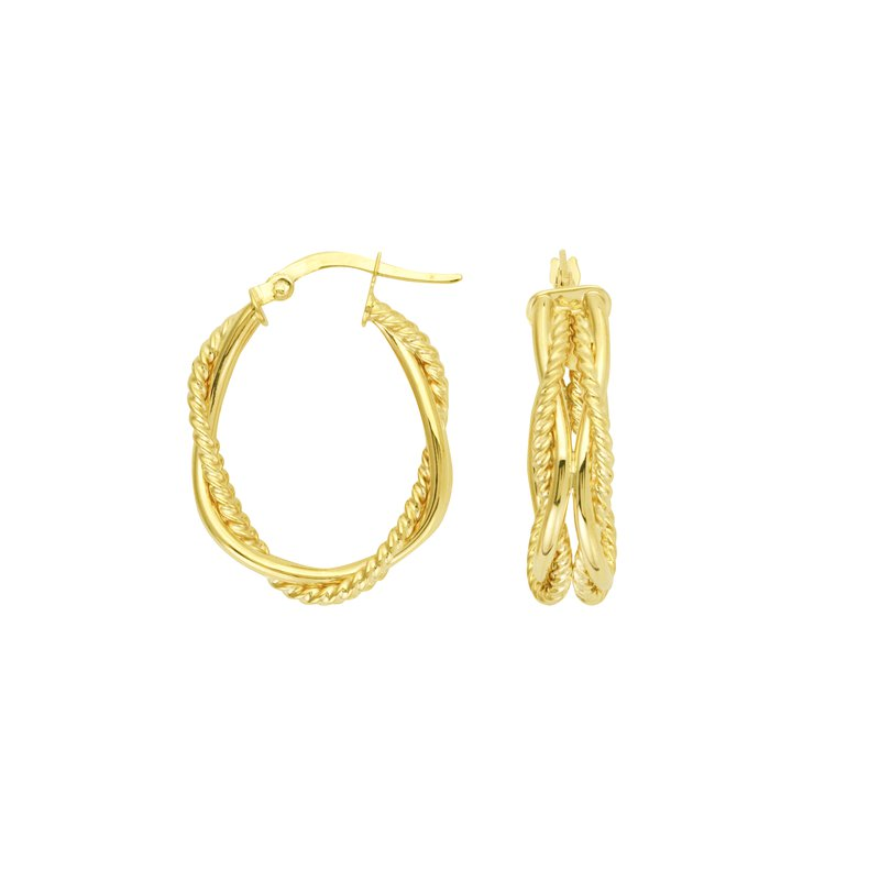 "Studio Fine 14 Karat 3/4"" Braided Oval Hoops"
