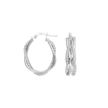 "14 Karat 3/4"" Braided Oval Hoops"